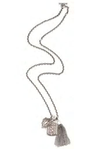 "French Kande Cable Chain with Twin Medallions & Tassel Necklace 28"" Silver"