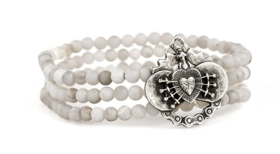 French Kande Triple Strand Immaculate Heart Medallion Bracelet