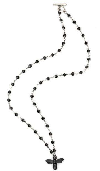 French Kande Channel Set Swarovski Black Jet Crystal with Miel Necklace 28""
