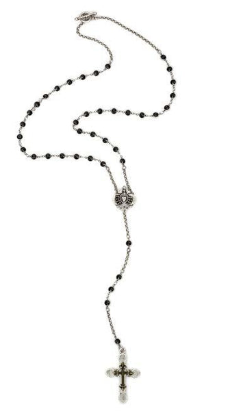 French Kande Jet Swarovski Immaculate Heart and Double Cross Rosary Inpired Necklace 30""