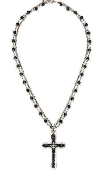"French Kande Black Jet Swarovski Double Strand Channel Cross 22"" Necklace"