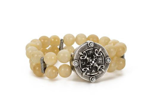 French Kande Yellow Jade Double Strand Fleur de Lis X Medallion Bracelet
