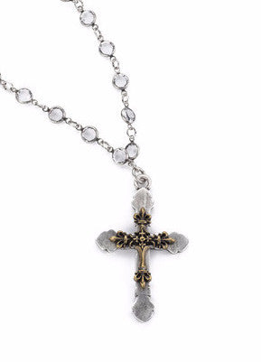 French Kande Channel Set Crystal & Pearl Double Fleur de Lis Cross Necklace 28""