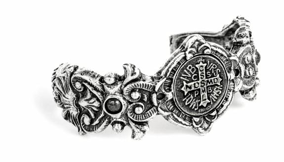 French Kande Fleuri Cuff with Mini Saint Benedict Medallion Bracelet Silver