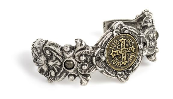 French Kande Fleuri Cuff with Mini Saint Benedict Medallion Bracelet