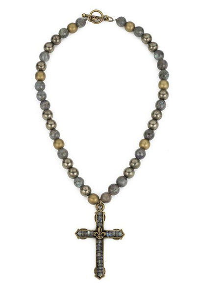 French Kande Fleur de Lis Cross Channel Necklace in Coastal Mix
