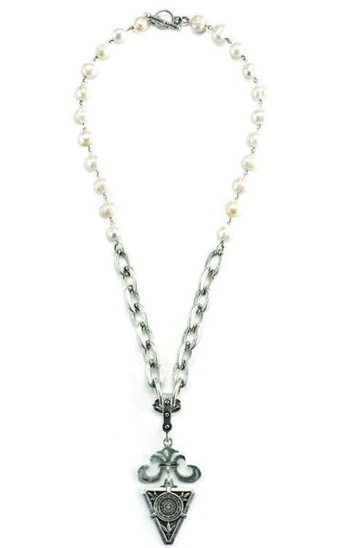 French Kande Freshwater Pearl and Lourdes Chain Grand Fleur De La Ville Medallion Necklace