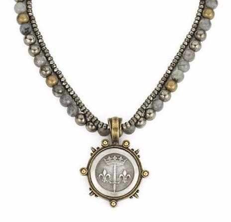 French Kande Coastal Mix Double Strand and Pyrite La Jeanne Medallion Necklace