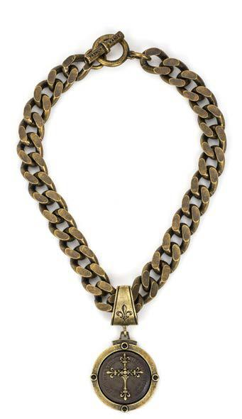 French Kande Bevel Chain with Black Rex Cross Stack Medallion Necklace Gold