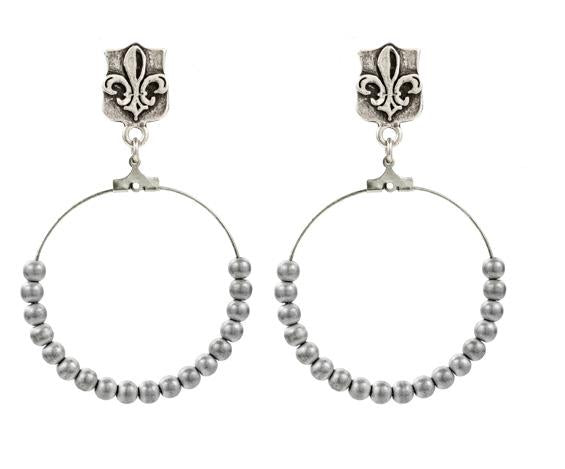 French Kande Fleur de Lis Hoops with Hematite Silver Bead Earrings Silver
