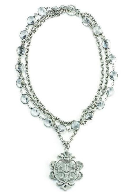 French Kande Channel Set Crystal and Silver with Indochine Medallion Necklace