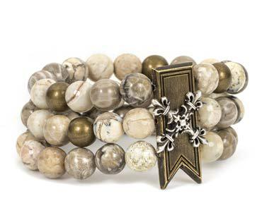 French Kande Cafe Au Lait Triple Strand Bar with X Stack Medallion Bracelet