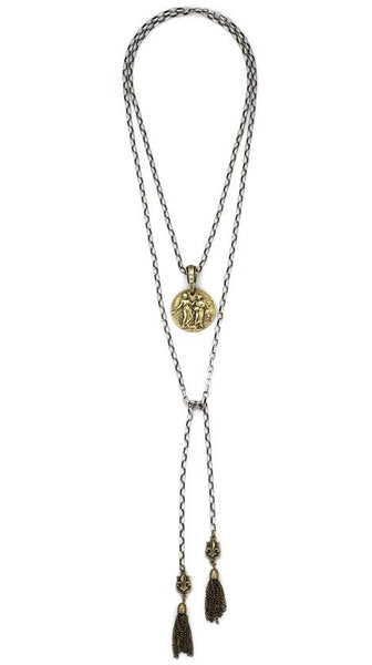 French Kande Adjustable Alsace Chain with Republique Medallion Necklace
