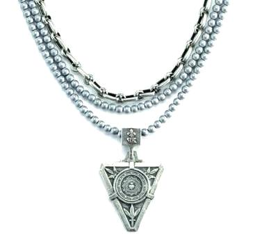 French Kande Triple Strand Bourdeaux Chain and Sterling Hematite De La Ville Medallion Necklace
