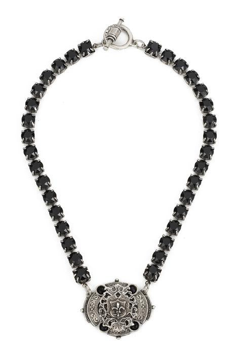 French Kande Swarovski Black Jet Fleur de Lis Watch Fob Necklace