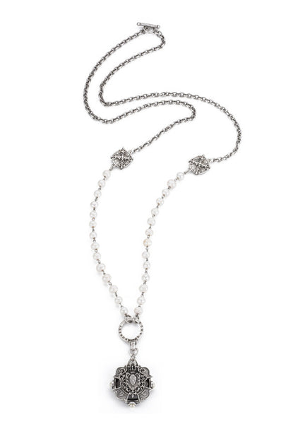 French Kande Pearl and Silver Chain Heart Stack Medallion Necklace 38""