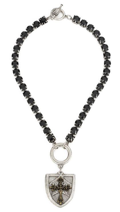 French Kande Swarovski and Cheval Black Jet Cross Stack Medallion Necklace