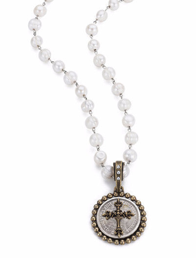 French Kande Pearl and Silver Chain with Rex Cross Medallion 28""