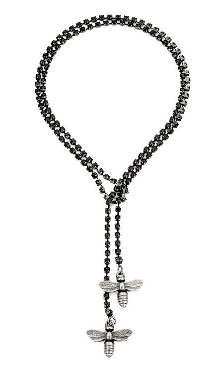 French Kande Swarovksi Black Jet Cupchain with Miel Pendants Silver