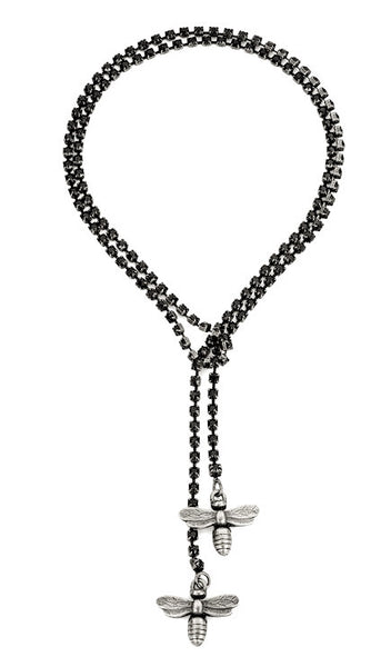 Copy of French Kande Swarovksi Black Jet Cupchain with Miel Pendants Silver