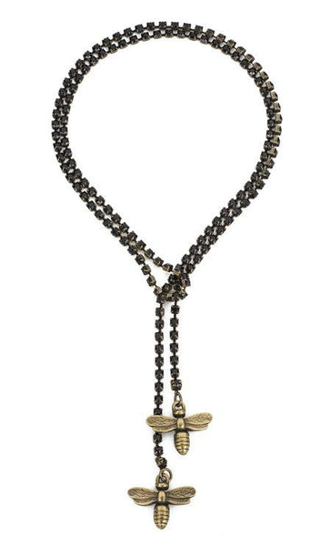 French Kande Swarovksi Black Jet Cupchain with Miel Pendants Brass