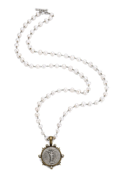 French Kande St. Michel Medallion in Freshwater Pearls 36""