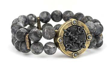 French Kande Double Strand Sandblast Black Labradorite X Cross Bracelet