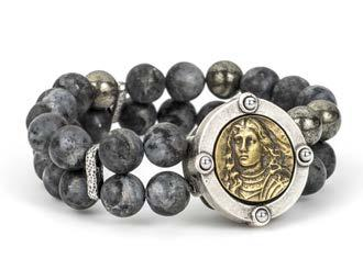 French Kande Double Strand Sandblast Black Labradorite Joan of Arc Bracelet