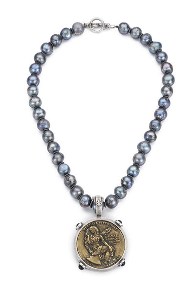 French Kande Peacock Pearl and Festival Medallion Necklace 17""