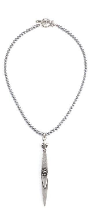 French kande notre dame pointu pendant necklace in hematite french kande notre dame pointu pendant necklace in hematite sterling aloadofball Images
