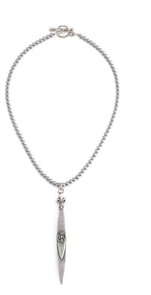 French Kande Notre Dame Pointu Pendant Necklace in Hematite Sterling