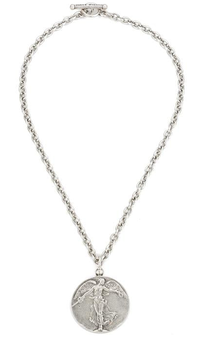 "French Kande Cable Chain L""Ange Medal Necklace - Silver"
