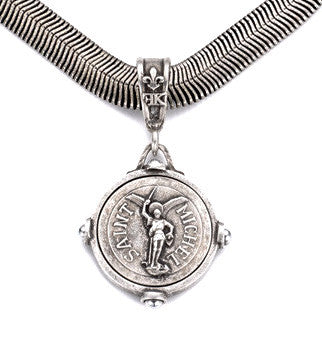 French Kande Saint Michel Medallion Snake Chain Necklace 17""