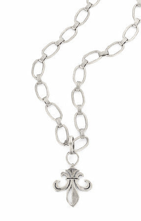 "French Kande Bubble Chain Grande Fleur de Lis Medallion Necklace 30"" Silver"