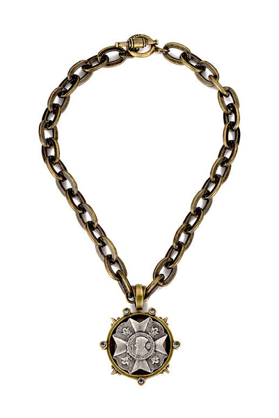 French Kande Lourdes Chain with St. Benedict Bravoure Medallion Necklace