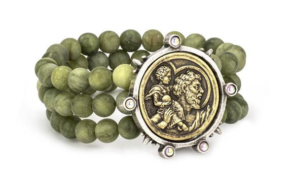 French Kande Triple Strand Faceted Vert Jade with Saint Christopher Medallion Bracelet