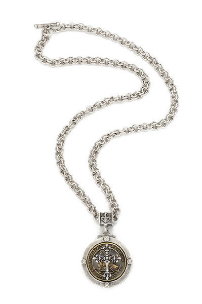 "French Kande Double Cable Chain with Pineau Cross Medallion Necklace 28"" Silver"