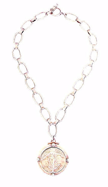 "French Kande Bubble Chain L""Ange Medal Necklace - Silver"