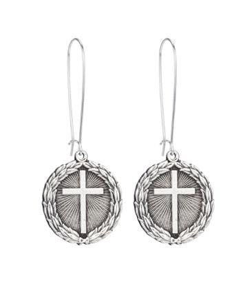 French Kande Laurel Wreath Cross Medallion Earrings Silver