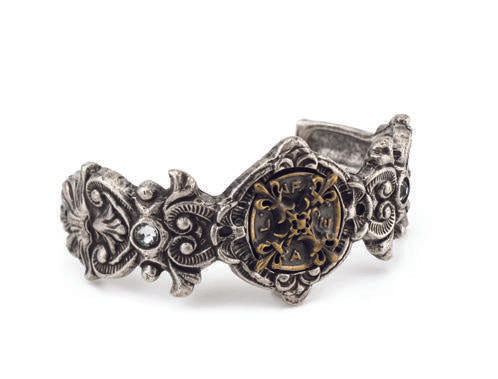 French Kande Fleuri Cuff with X Medallion Silver & Brass