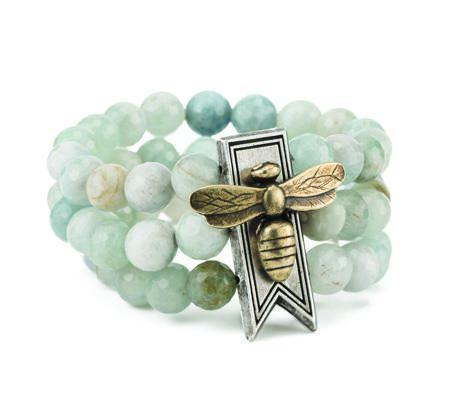French Kande Aquamarine Triple Strand Bar Miel Stack Medallion Bracelet