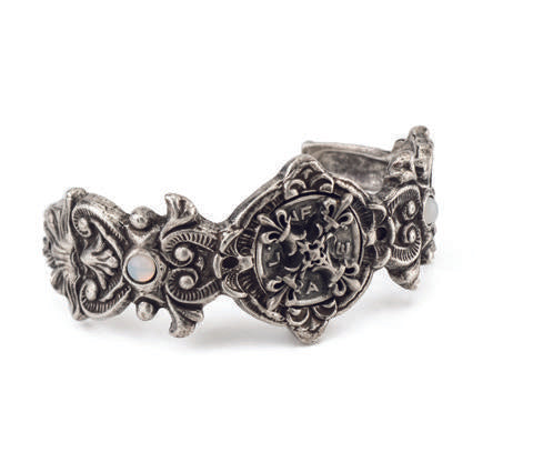 French Kande Fleuri Cuff with X Medallion Silver