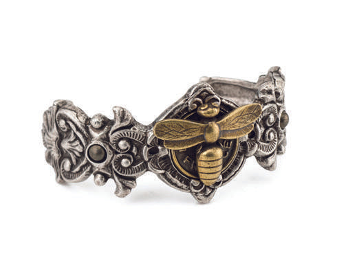 French Kande Fleuri Cuff with Miel Medallion Silver & Brass