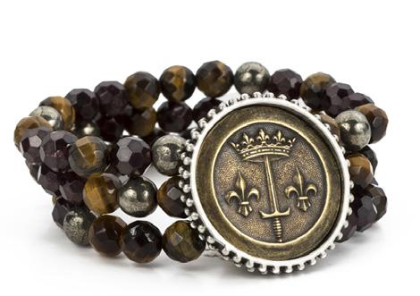French Kande Tiger Eye Mix Triple Strand La Jeanne Medal Bracelet
