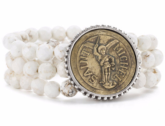 French Kande White Turquoise Triple Strand Saint Michel Medallion Bracelet