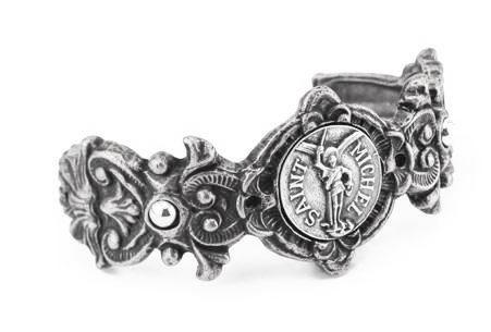 French Kande Fleuri Cuff with St. Michael Medallion Silver
