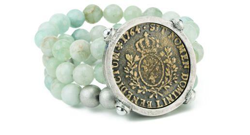 "French Kande Aquamarine Triple Strand Domini ""Blessed Be"" Medallion Bracelet"