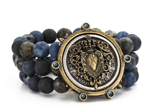 French Kande Indigo Mix Triple Strand Centennial Sacred Heart Medallion Bracelet