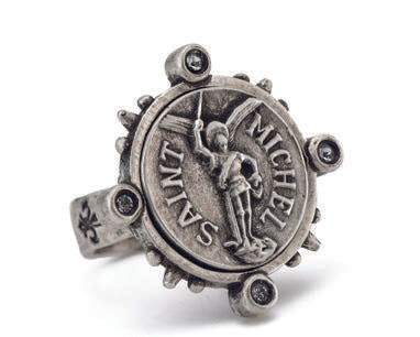 French Kande  Spiked Ring with mini Saint Michael Silver