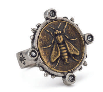 French Kande  Spiked Ring with mini Abeille Medallion Mixed